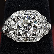 SALE 1.80 Carat Old European Cut Diamond Ring / GIA Certified