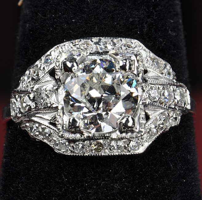 1.80 Carat Old European Cut Diamond Ring / GIA Certified