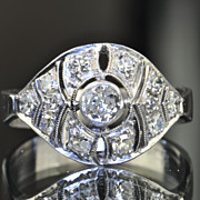 SALE .51 Art Deco Old European Cut Diamond Ring