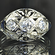 SALE .70 Carat Diamond and Sapphire Edwardian Style Ring