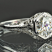 SALE 1 Carat Edwardian Style Solitaire Engagement Ring