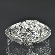 SALE 1.12 Carat Diamond Art Deco Style Wedding / Engagement Ring