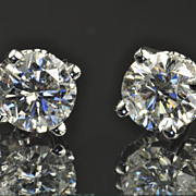 SALE 2.01 Carat Diamond Stud Earrings / EGL Certified