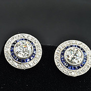 SALE 3 Carat Old European Diamond and Sapphire Earrings