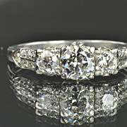 SALE 1.5 Carat Old European Cut Diamond Ring / .70 Carat Center