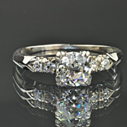 SALE .70 Carat Old Mine Cut Diamond Solitaire Engagement Ring