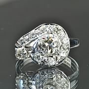 SALE 1.5 Carat Vintage Diamond Ring / .75 Carat Center