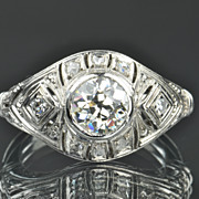 SALE 1.31 Carat Old European Diamond Ring / 1.13 Center / EGL Certified
