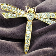 SALE 3.68 Carat Victorian Old Mine Cut Dragonfly Pin