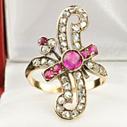 SALE 1.6 Diamond and Ruby Victorian Ring