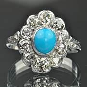 1.20 Carat Old Mine Cut Diamond and Turquoise Ring