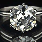 SALE 4.24 Old Mine Cut Diamond Solitaire Ring / EGL Certified