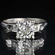 SALE .95 Carat Old European Cut Diamond Solitaire Engagement Ring