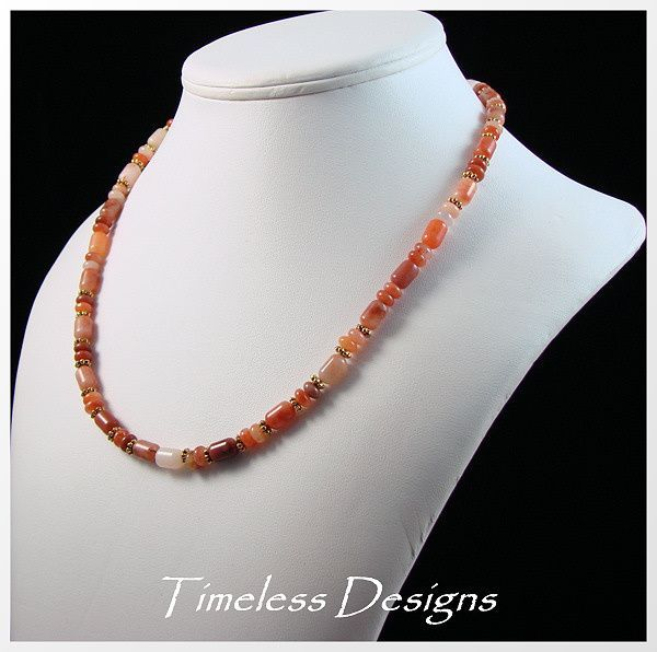Red Aventurine Tubes & Rondelles Necklace