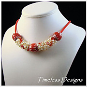 Red Mexican Pendants Charms of  Crystals & FW Cultured Pearls Necklace Set