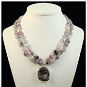 Amethyst Drusy Pendant Double Strand Fluorite Heart Gemstone Necklace