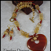 Carnelian Heart Pendant & Faceted Graduated Citrine Gemstone Set