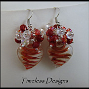 REDUCED Charmed Hearts in Crystals & Murano Glass Earrings