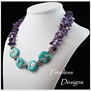 Double Strand Amethyst Chips & Turquoise Rounds Necklace Set