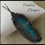 Hand Wire Wrapped Black/Blue Agate Slice Pendant