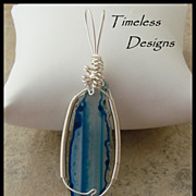 SOLD Striped Blue Hues Agate Slice Pendant Hand Wire Wrapped