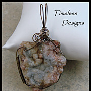 SOLD Lovely Large Drusy Rosetta Agate Pendant Hand Wired