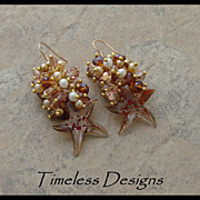SOLD Berry & Coppery Tan Glass Starfish Charms of Swarovski Crystals Earrings