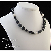 Asymmetrical Blackstone & Ivoryite Gemstone Silver Necklace
