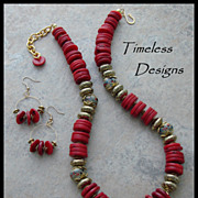 Graduate Red Branch Coral Disks Lampwork Necklace Set