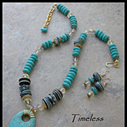Turquoise & Lampwork Beads & Crystals Necklace Set