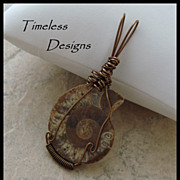 Earthy Polished Half Ammonite Fossil Pendant Hand Wire Wrapped