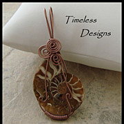 SOLD Hand Wire Wrapped Half Ammonite Fossil Pendant