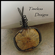 Hand Wire Wrapped Sand Dollar Fossil Pendant