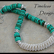 Trendy Silver Hand Double Coil Turquoise Necklace
