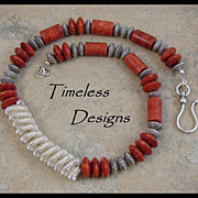 Double Coiled Silver Pendant & Red Sponge Coral Necklace