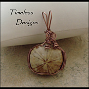 SOLD Hand Wire Wrapped Sand Dollar Fossil Pendant