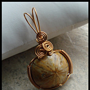 SOLD Bronze Hand Wired Sand Dollar Fossil Pendant