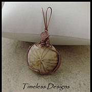 SOLD Sand Dollar Fossil Pendant Wire Wrapped Antique Copper
