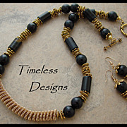 Elegant Blue Tigers Eye Brass Double Coiled Pendant Necklace Set