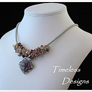 Rich Hues of Purple Floral Glass Pendant & Swarovski Crystals Necklace Set