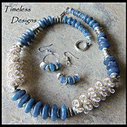 REDUCED Silver Triple Coil Beads Blue Angelite Agate Necklace Set