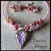 SALE PENDING Charms of Pink Swarovski Crystals & Murano Glass Pendant Necklace Set