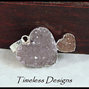 SOLD Natural Amethyst Drusy Double Heart Pendant