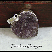 SOLD Natural Amethyst Drusy Sweetheart Pendant