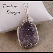 Large Beautiful Amethyst Drusy Polished Eye Pendant Hand Wire Wrapped