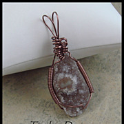 Amethyst Drusy Polished Eye Hand Wire Wrapped Pendant