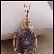 Hand Wire Wrapped Amethyst Drusy Polished Eye Pendant