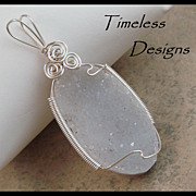 Soft Light Gray Amethyst Drusy Hand Wire Wrapped Pendant