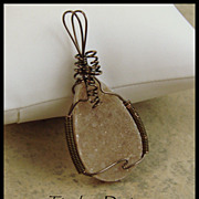 Lovely Amethyst Drusy Pendant Hand Wire Wrapped