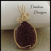 Rich Dark Purple Amethyst Drusy Crystal Hand Wire Wrapped Pendant